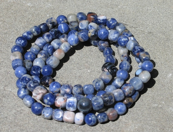 12 dollar 108 Buddhist mala sodalite nuggets with agate spacers