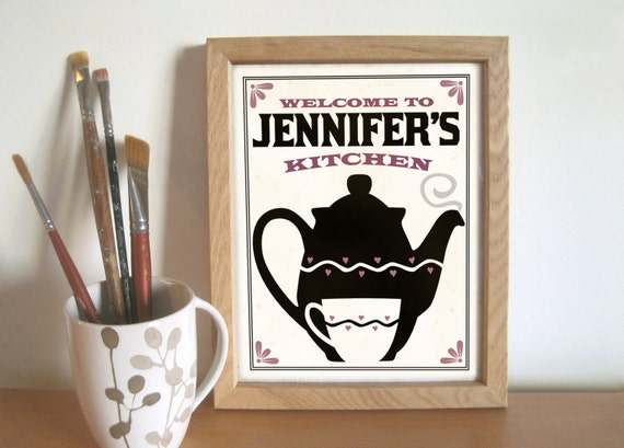 Items Similar To Personalized Kitchen Art Print Black And White Kitchen Gift On Etsy