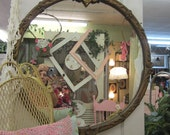 RESERVED for Roger...Amazing Vintage Chic Round Gesso Barbola Mirror...Shabby Gold...Distressed