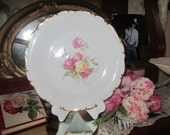 ON SALE Reduced Gorgeous Vintage Roses Cabinet Plate...Large Pink Roses...Germany
