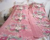 RESERVED FOR JOAN...Pair Vintage 1930s Drapery Panels...English Floral Bouquet...Canvas Duckcloth Fabric