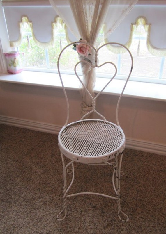 RESERVED for Jessica...Shabby Wrought Iron Ice Cream Garden Chair...Chippy White and Rust...Cottage Chic