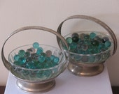 silver baskets, silver dishes, silver trinket baskets, a pair of two beautiful silver baskets, bonbon dishes - ART DECO