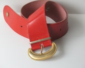 wide red leather belt, woman belt, gold buckle, vintage red belt, red leather belt, red leather wide belt