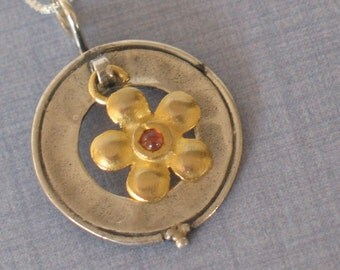 sterling silver small pendant,  gold filled flower, small red stone hanging from a silver circle, silver jewelry, flower  necklace,