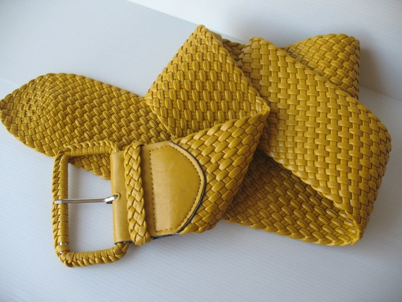 wide yellow braided leatherette belt womens by