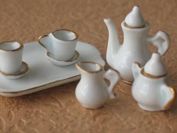 RESERVED 10 pcs white miniature coffee set, minature porcelain coffee set on a tray, white and gilded dollshouse coffee set
