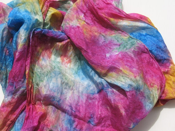 long marbeled silk scarf - batik hand dyed from india