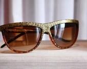 Henna Sunnies - Gold Deepti - hand-painted sunglasses - OOAK