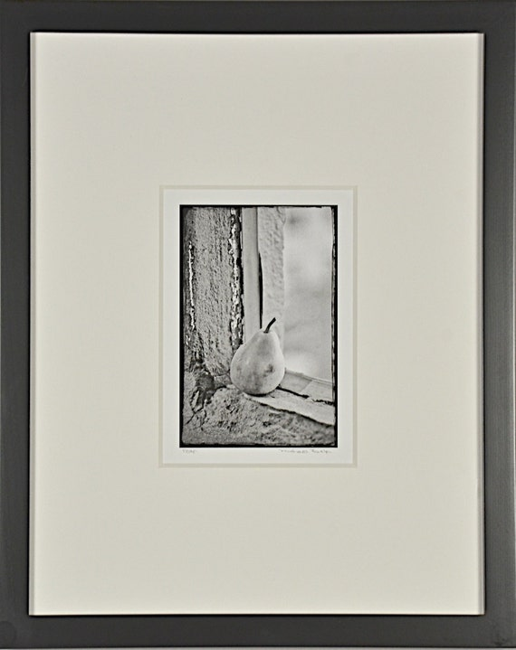 Pear, Still Life, Black and White High Key, Matted and Framed Photography
