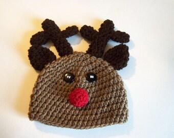 Newborn Reindeer Hat - Crochet Newborn hat