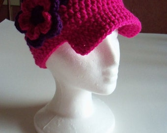 Children Brim Hat - Crochet Brim Hat In Pink And Purple
