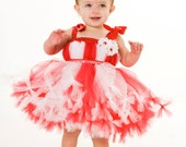 READY TO SHIP:  Petti Tutu Dress - Birthday or Christmas Outfit - Red & White - Peppermint Swirl - 3-4 Toddler Girl