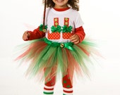 Tutu Skirt - Holiday or Christmas - Red & Green - North Pole Pixie - 7-8 Youth Girl