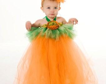 Tutu Dress - Pumpkin Halloween Costume - Orange & Green - Gorgeous Gourd - 3-4 Toddler Girl - Cutie Patootie Designz