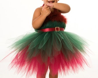 READY TO SHIP:  Tutu Dress - Holiday or Christmas Outfit - Green & Burgundy - Enchanted Elf - 12 month - 2 Toddler Girl - CPDz