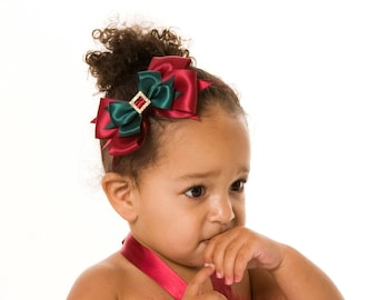 READY TO SHIP: Christmas or Holiday Headband - Enchanted Elf - Burgundy and Green Fits toddler to adult - Cutie Patootie Designz