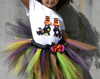 READY TO SHIP: Spunky Spellbinder Witch Shoes T-Shirt - Halloween Costume - Size 3 Toddler - Cutie Patootie Desingnz