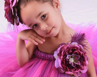 Flower Girl Tutu Dress - Purple & Fuchsia - Wild Berry - 7-8 Youth Girl