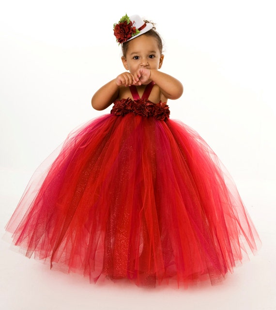 Tutu Dress - Holiday Christmas - Red & Burgundy - Radiant Red Poinsettia - 5-6 Youth Girl