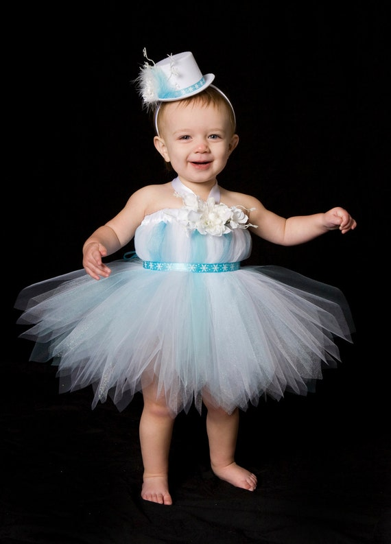 Tutu Dress - Holiday or Christmas Outfit - Blue & White - Frosted Fairy - 3-4 Toddler Girl - Cutie Patootie Designz