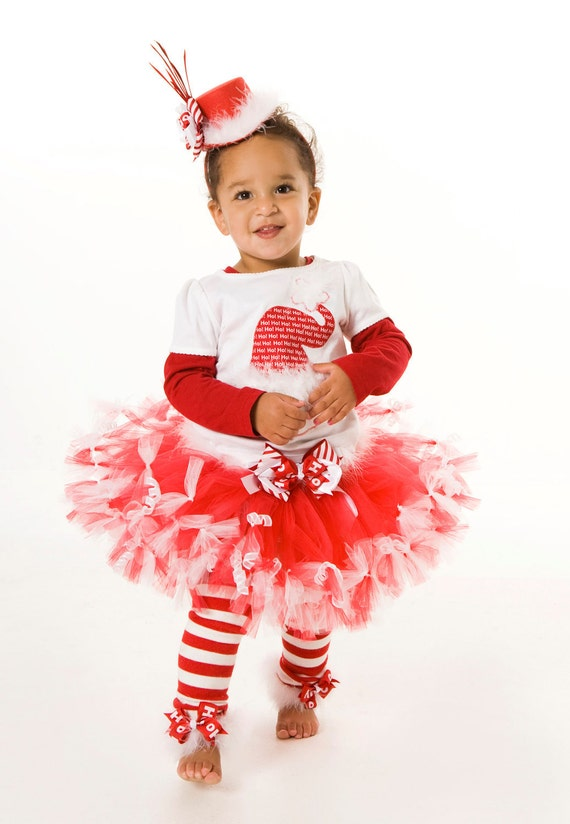 Petti Tutu Skirt - Holiday or Christmas - Red & White - Christmas Crush - 5-6 Youth Girl - Cutie Patootie Designz