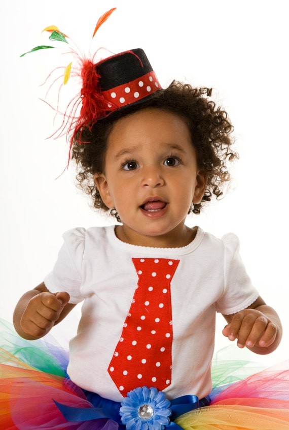 READY TO SHIP:  Cutie Patootie Clown Tie T-Shirt 18m Short Sleeve- Halloween or Birthday Costume - Toddler & Youth Girl