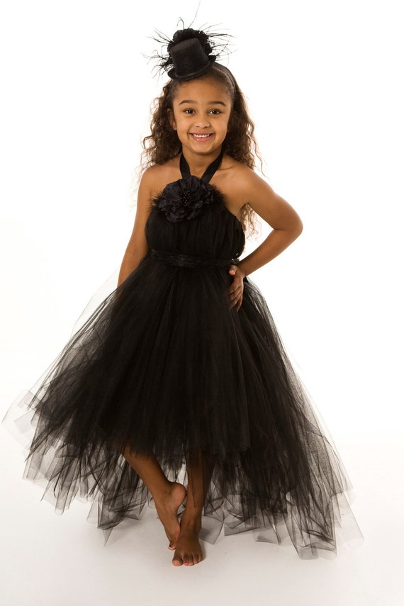 Flower Girl Tutu Dress - Black- Midnight Magic -12 Month to 2 Toddler Girl
