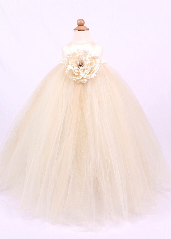 Flower Girl Tutu Dress - Ivory - Precious Pearl - 5-6 Youth Girl- LIMITED EDITION