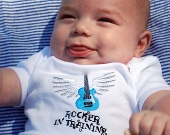 Rocker in training embroidered guitar baby bodysuit