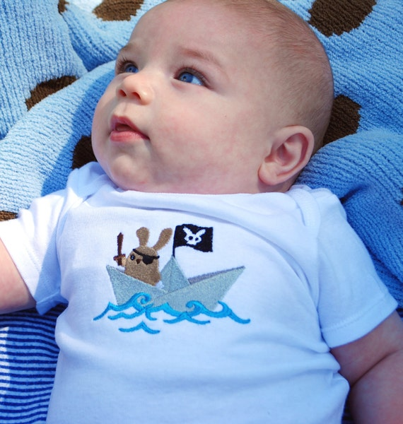 Pirate bunny embroidered baby bodysuit made to order
