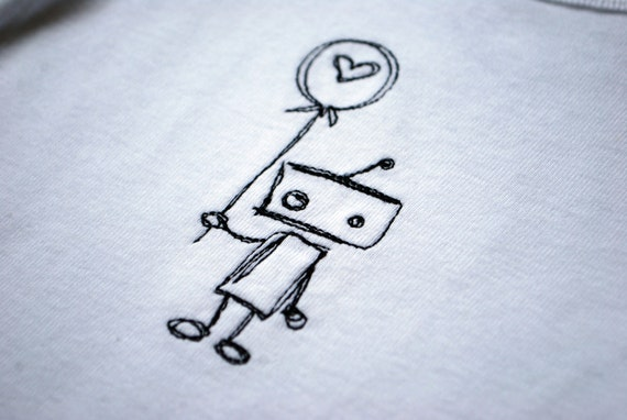 Lonely Robot with balloon embroidered baby bodysuit made to order