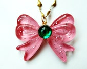 Sailor Moon Inspired  Bow Jewel Necklace with Gold Moon and Stars Chain Sailor Jupiter
