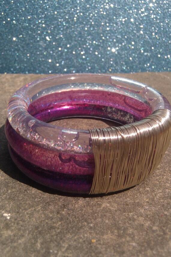 Cosmic Aqua Jelly Glitter Bracelet (Triple-Decker Pink)