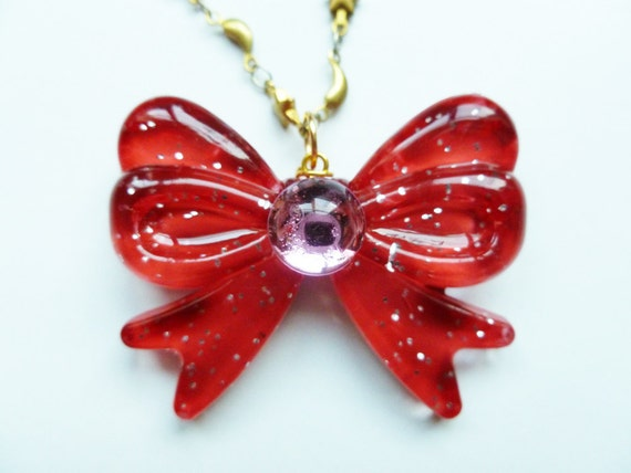 Sailor Moon Inspired Bow Jewel Necklace with Gold Moon and Stars Chain-Sailor Mini Moon-Rini-Chibi Usa