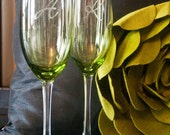 Etched Champagne Toasting Glasses