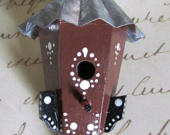 Miniture wood birdhouse ornament, painted, one-of-a-kind