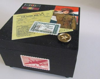 Military themed decorated wood trinket box