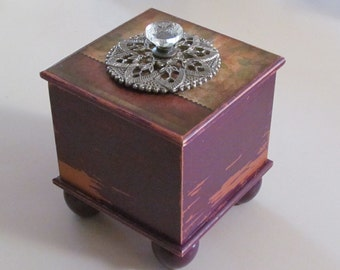 Decorated distressed wooden trinket box