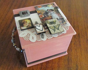 Decorated Wooden Trinket Box - Victorian Kisses