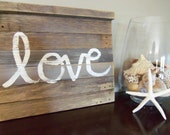Reclaimed Wood Plank Rustic LOVE Sign Wall Art