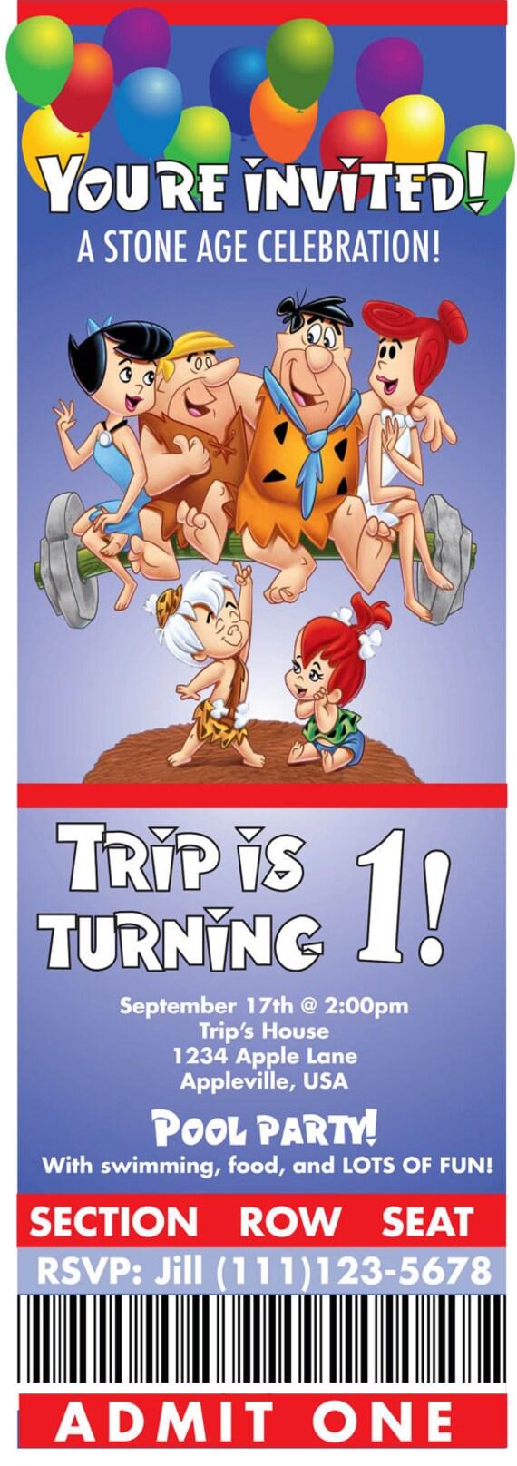 Flintstone Party Birthday Invitation