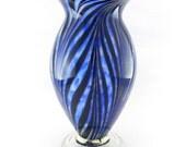 Hand Blown Art Glass Vase - Blue, White, and Black