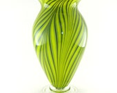 Hand Blown Art Glass Vase - Bright Lime Green