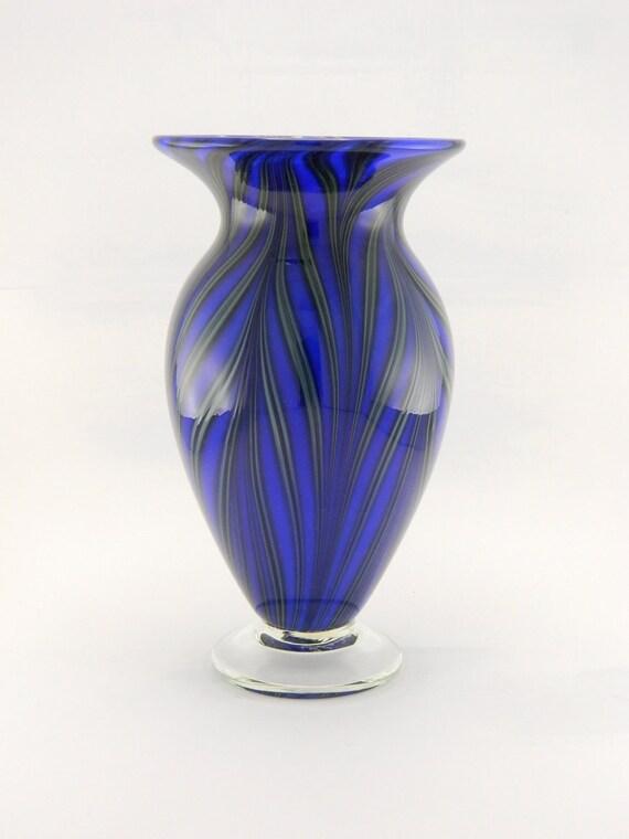 Hand Blown Art Glass Vase - Bright - Tropical - Lapis Blue