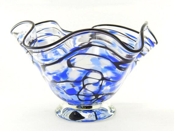 Hand Blown Art Glass Bowl - Lapis Blue, Pale Blue, White, and Black - Freeform