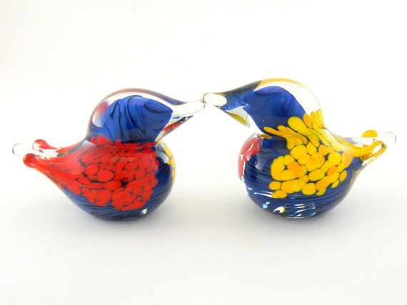 Art Glass Love Birds - Navy Blue, Golden Yellow, and Bright Red - Set of Two