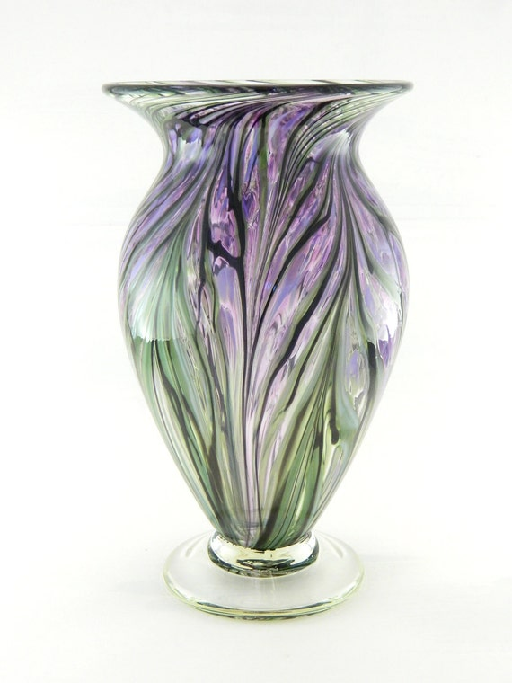 Hand Blown Art Glass Vase - Hyacinth Purple and Lavender