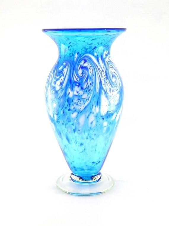 Hand Blown Art Glass Vase - White Ocean Waves on Aqua Blue