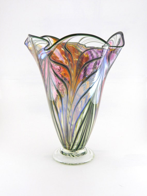 Hand Blown Art Glass Vase - Iridescent Amber, Purple, and Pink - Fluted - Freeform